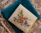 ON SALE- Wiesner Powder Compact; Hand Painted; Genuine Cloisonne Featuring Roses and a Bluebird circa 1940's-1960's- DR34