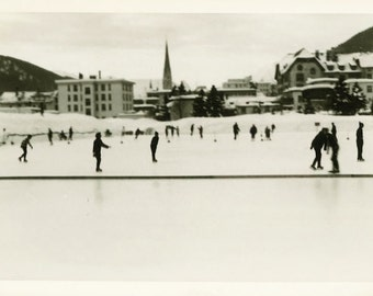 "Vintage Photo ""Frozen Wonderland"" Skating Snapshot Photo Antique Photo Black & White Photograph Found Photo Paper Ephemera Vernacular - 198"