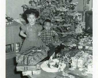 "Vintage Photo ""Gift Overload"" Merry Christmas Tree Snapshot Photo Old Antique Black & White Photograph Found Paper Ephemera Vernacular - 72"