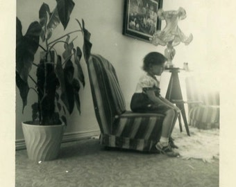 """Vintage Photo """"Time Out Chair"""" Girl Living Room Decor Snapshot Photo Old Photo Black & White Photograph Found Paper Ephemera Vernacular - 35"""