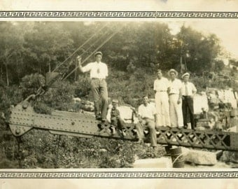 "Vintage Photo ""Crane Climbers"" Group Shot Machine Snapshot Old Antique Photo Black & White Photograph Found Paper Ephemera Vernacular - 90"