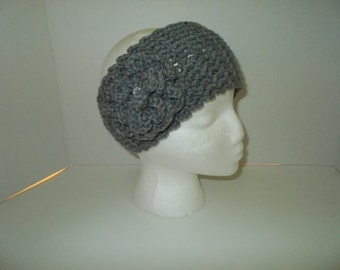 Gray Ear warmer headband winter accessory for teen to adult women.