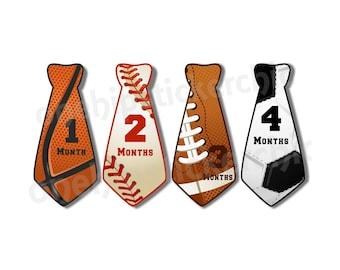 Sports Monthly Milestone Sticker Month Age Sticker Baby Boy Sticker Onepiece Shower Gift Photo Prop Pre-cut tie necktie shaped