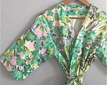 Sateen Kimono Robe. Sateen Robe. Dressing Gown. Spa Robe. Bathrobe. Spring is Here. Small thru Plus Size Kimono Robe 2XL.