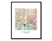Personalized Map Gift, Custom Wedding Gift, for Couples. Engagement Print, Two Worldwide Locations, Map Print