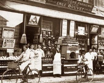 Paris Wine Shop Greeting Card   Turn of Century France Street Scene   Repro RPPC