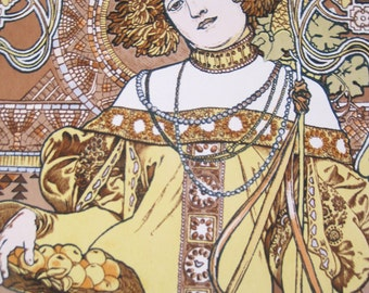 Alphonse Mucha Large Hand Printed Reproduction Poster Panel The Seasons Autumn Art Nouveau Poster