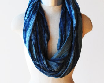 long skinny blue scarf, cotton, hand painted, cowl, infinity