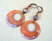 Orange and Lavender Earrings - Enamel Orange and Purple Charm with Czech Glass Beads - Purple and Orange Earrings - Hoop Earrings