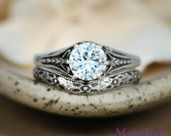 White Sapphire Trident Filigree Ring Set in Sterling - Silver Round Wedding Set - Gem and Band - Victorian Filigree Wedding Ring Set
