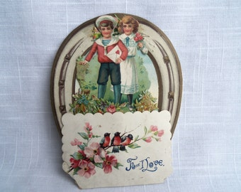 Vintage Victorian Valentine Sailor Boy Girl Horseshoe Robins Honeycomb 3D Fold Out