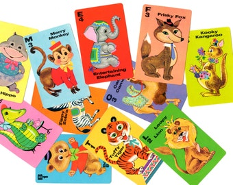 11 Vintage Animal Rummy Game Cards - Mixed Media, Altered Art, Collage, Assemblage Supplies