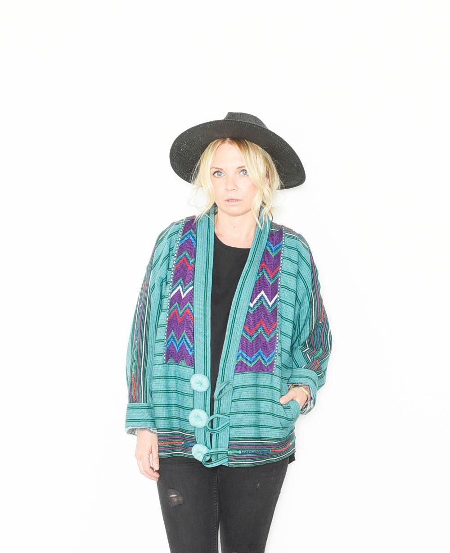 Vintage guatemalan blanket jacket ethnic embroidered coat