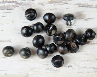 LOT 18 Victorian Black Composition Shank Shoe Buttons Lot  -B4