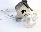 Vintage Hen on Nest Butter Dish / Small Chick Jam Jar / Anchor Hocking Lidded Sugar Bowl with Basket Bottom