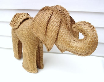 Vintage Wicker Elephant Straw Animal Natural Fiber Baby Elephant
