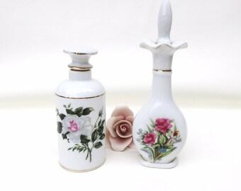 Vintage Perfume Bottles, Scent Bottles, Vanity Bottles, Porcelain Rose Perfume Decanters - Lot of 2