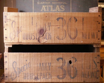 Vintage Wood Fruit Crates with Great Graphics - Perfect Front Porch Decor!