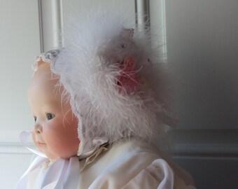 Baby Bonnet - Newborn Bonnet, Handmade, OOAK, Baby Photo, Baptism, Gift Idea, French Inspired, Nursery Display, New Baby, Downton Abbey