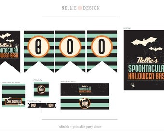 Instant Download - Editable - HALLOWEEN PARTY DECOR Package