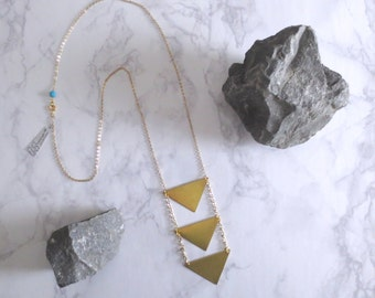 Vexil - Modernist Bright Brass Geometric Necklace; Three Tier Triangle Pendants; Long Tribal Aztec Boho Bohemian Gold Festival by InfinEight
