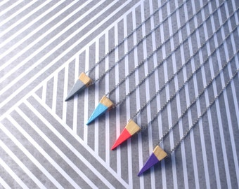 Speleo - One Silver and Dip Dyed Tiny Wood Triangle/Pyramid Geometric Necklace in Fuschia, Grey, Blue or Purple (Collier Bois) by InfinEight