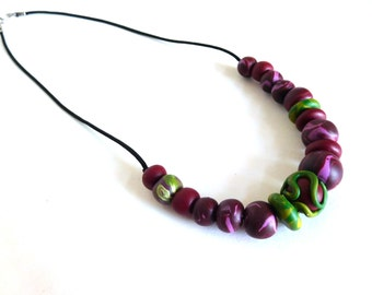 Colorful clay bead necklace, berry colors marbled polymer clay handmade beads on black silk cord, clay bead jewelry, colorful jewelry