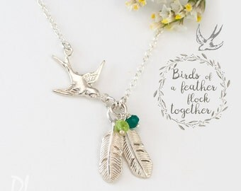 Silver Mama Bird Feather Necklace, Custom Birthstone Necklace, Family Jewelry, Gift for Mom, Birthstone Necklace for Grandma, Keepsake Gift