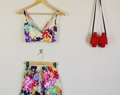 Rainbow Paint Print Summer Twin Set Fitted Sweetheart Crop and High Waist Shorts 90s Festival Cute Lolita 60s 70s 80s