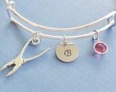 Pliers Bracelet, DIY Tool,Repair,Initial Bangle,Silver Bangle,Personalized,Expandable,Charm Bracelet,Birthstone Bracelet,BFF Friend,Birthday