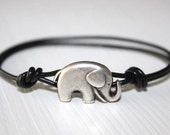 Elephant Leather Bracelet, Antique Silver, Genuine Leather Cord (14 Cord Colors Available)
