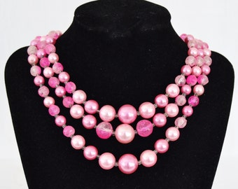 Vintage Triple-Stranded Necklace with Pink Plastic Beads Made in Japan
