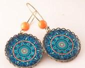 MANDALA Earrings, Blue Earrings, BOHO Earrings, Bohemian Earrings, Gift For Her, Ethnic Earrings, Blue, Colorful, Dangle Earrings, Yoga