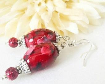 Red Earrings Sterling Silver Beaded Dangle Earrings, Mothers Day Gift Ideas Mom Gift, Bohemian Earrings Boho Jewelry Handmade, Best Selling