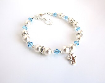 March Birthstone Bracelet, Initial Bracelet Silver, Personalized Jewelry Gifts for Kids, Aquamarine, Birthday Gift for Daughter