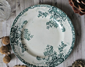 French antiques/french country ironstone flower plate collection cottage 1900s shabby chic chateau