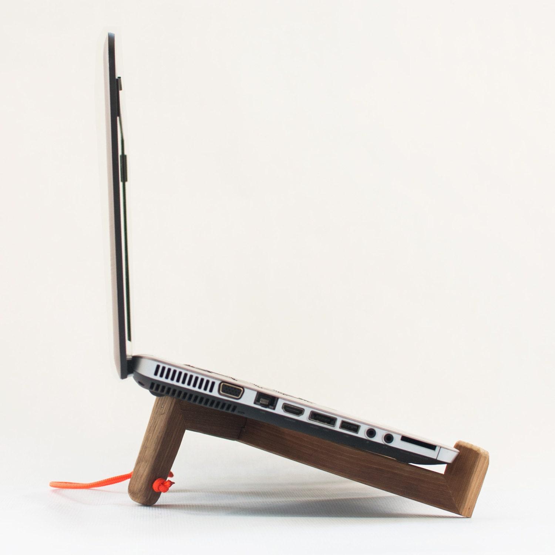 Minimal wood laptop stand handmade vintage style wooden