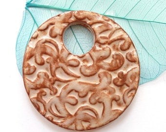 Ceramic pendant ~ round pendant focal, handmade clay donut necklace, jewelry making supplies, jewellery component, jewelry makers gift