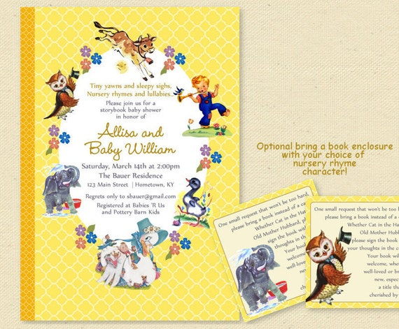 baby shower nursery rhyme storybook by sunnysideprintparty on etsy, Baby shower