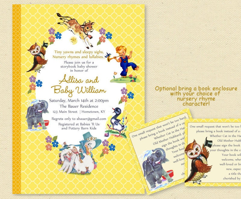 baby shower nursery rhyme storybook invitation book baby shower invite boy or girl