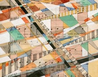 The Dear Old Tree: original art work on antique sheet music geometric modern art blue orange red green blue