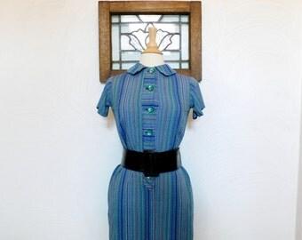 1960s Shirtwaist Dress Vintage 60s Blue Striped Dress - S / M