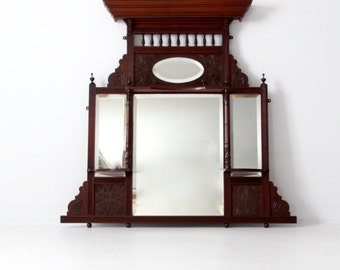 Victorian over-mantle mirror, beveled mirror carved wood mantle