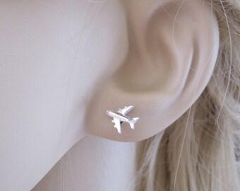 Small Aeroplane Airplane Plane sterling silver stud earrings