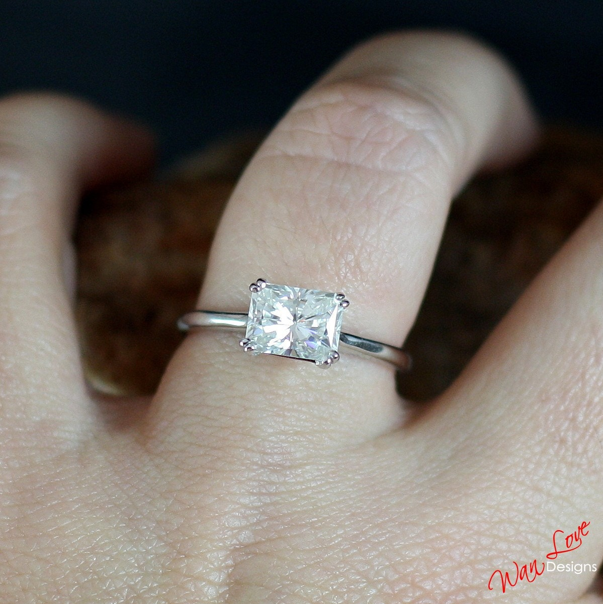 Neo East West Radiant Moissanite Solitaire Engagement Ring