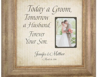 Mom Wedding Gift, Personalized Groom Gift, Picture Frame, Parents Burlap Wedding Gift, Dad, Wedding Thank you gift, TODAY A GROOM, 16 X 16
