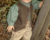 RESERVED Colonial Boy's Brown Vest Work Outfit for 18 inch Dolls