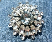 VINTAGE 1950s Big Clear Rhinestone Christmas Brooch Snowflake Pin Gift Flower Faceted Pronged Round Large Mad Men Mid Century MidCentury Fun