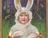 Easter Bunny Costume- 1910s Antique Postcard- Basket of Easter Eggs- White Rabbit- Edwardian Easter Decor- Copr. E. Nash- Paper Ephemera