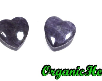 "Amethyst Heart Shaped Plugs 0g-5/8"" (Sold as Pair) Handmade Body Jewelry (0g, 00g, 7/16"", 1/2"", 9/16"", 5/8"")"